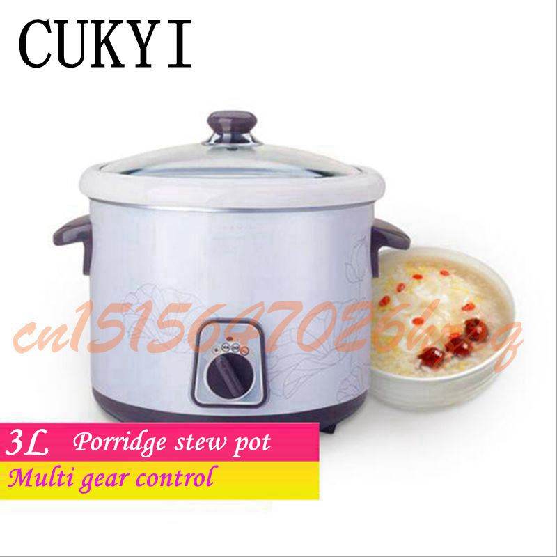 CUKYI 3.0L Multifunctional cooker electric 215w Slow Cookers stew foods Ceramic liner cooking gruel Health slow cooker cukyi stainless steel electric slow cooker plug ceramic cooker slow pot porridge pot stew pot saucepan soup 2 5 quart silver