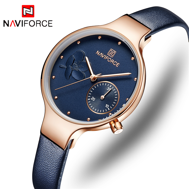 NAVIFORCE Brand Women Fashion Casual Quartz Wrist Watch Ladies Leather Watches Waterproof Luxury Lady Watch Relogio Feminino