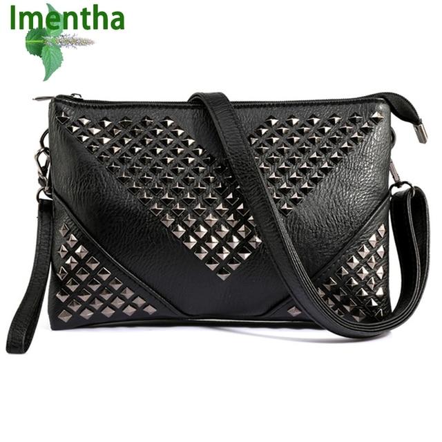 b3aa732051f HOT stud vrouwen messenger bags vrouwen lederen handtassen zwarte vrouwen  schoudertas Rivet crossbody tassen voor vrouwen