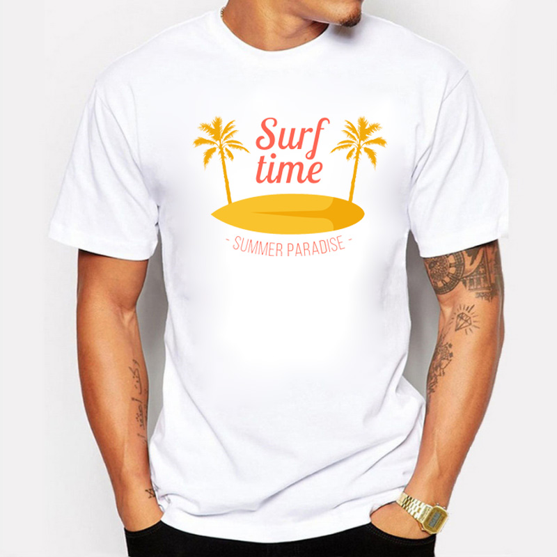 Fashion travel Time Men T Shirt Short Sleeve Summer Paradise Palm tree Summer Style Casual Top Tee