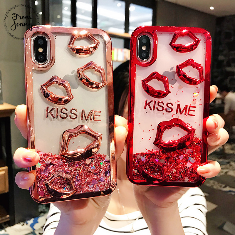 From Jenny Kiss Me Liquid Quicksand Transparent Case for Apple iPhone 6s 6 7 7plus 6s+ 6splus 8 8plus X Capas Covers