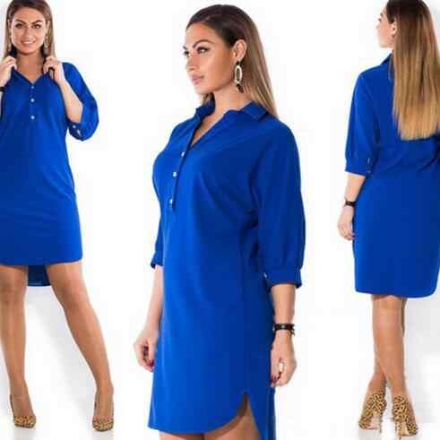 Большие размеры 6XL 2019 женское платье зеленое летнее сплошное Сексуальное Сплит нестандартная рубашка платья Плюс Размер Женская одежда 6xl синее платье