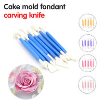 8pcs Sugar Craft Fondant Cake Pastry Carving Cutter Chocolate Decorating Flower Clay Modelling Baking Craft Tool Set fondant cake decorating sugar craft making wheel embosser cutter tool set white