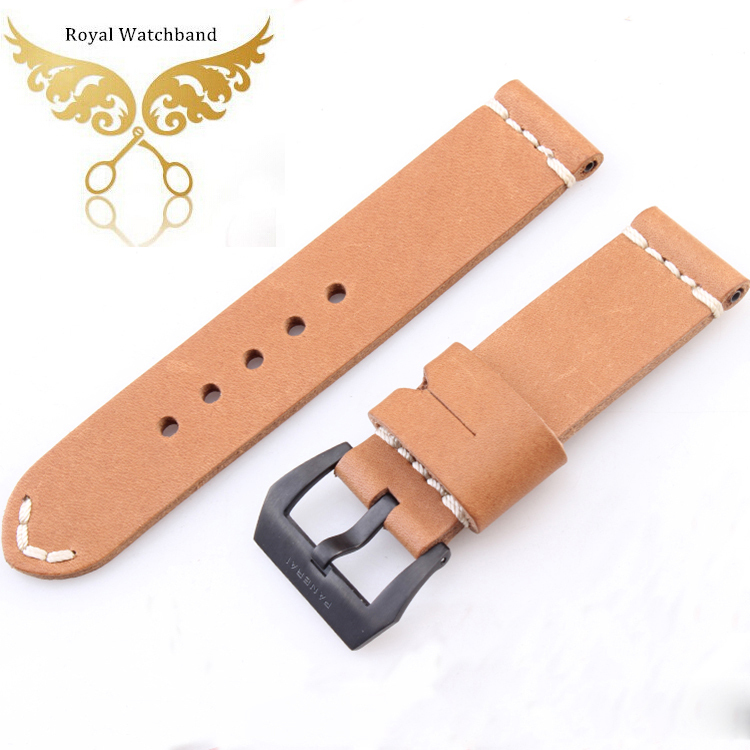 Promotion 24mm High Quality Mens Genuine Leather Watch Strap Band Black Brushed Clasp Buckle Free Shipping
