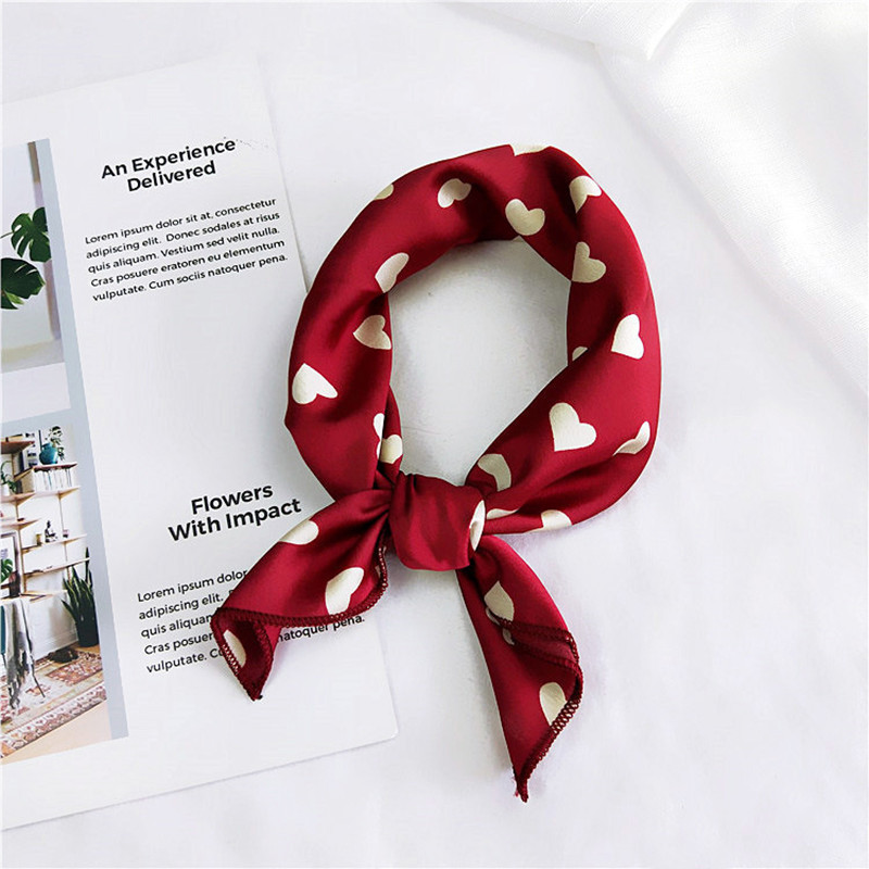 Square Scarf Hair Tie Band For Business Party Women Elegant Small Vintage Skinny Retro Head Neck Silk Satin Scarf strap
