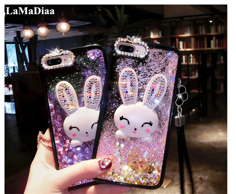 LaMaDiaa Bling Liquid Quicksand Diamond Phone Case For Samsung S7 edge S8 S9 S10 Note 10 Plus 8 9 10 3D Rabbit Stand Case Cover image