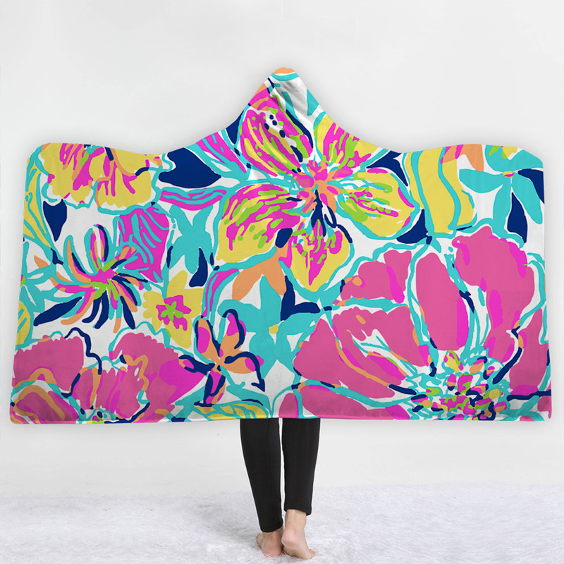 Home Textile Blankets Shop For Cheap Xc Ushio Wearable Hooded Throw Blanket Winter Thick Printed Fleece Fabric Sofa Couch Bed Cover Blankets Flower Pattern 150*200cm Catalogues Will Be Sent Upon Request