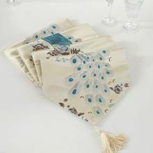 European Style Random Color Silk Multifunction Table Runner with Peacock Feather Pattern Wedding Party Decoration
