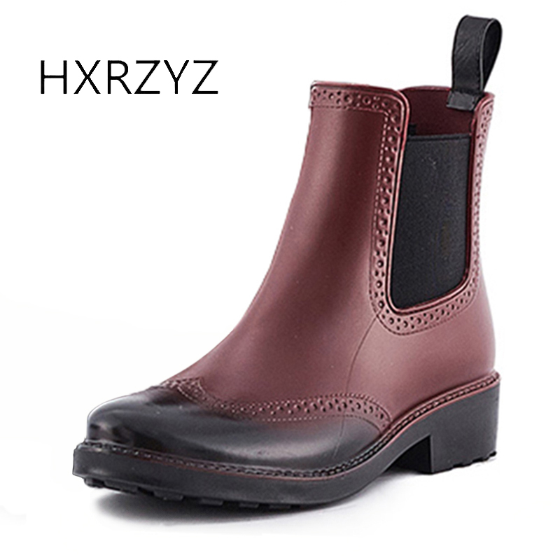 HXRZYZ women rubber boots female chelsea ankle rain boots fashion spring/autumn slip-resistant waterproof elastic women shoes hxrzyz women rain boots spring autumn female ankle boots ladies fashion high top blue and red non slip waterproof women shoes