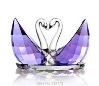 Crystal Swan Dreamy colorful Purple Lovers Figurine Mineral Quartz Handicraft Ornament Embellishment for Home Decoration Present