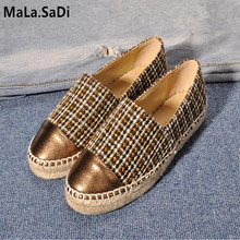 цена на Hot Sale Slip-On Round Toe New Fashion High Quality Sweet Women Flats Hemp Espadrilles Casual Ladies Loafers Shoes Size 34-42
