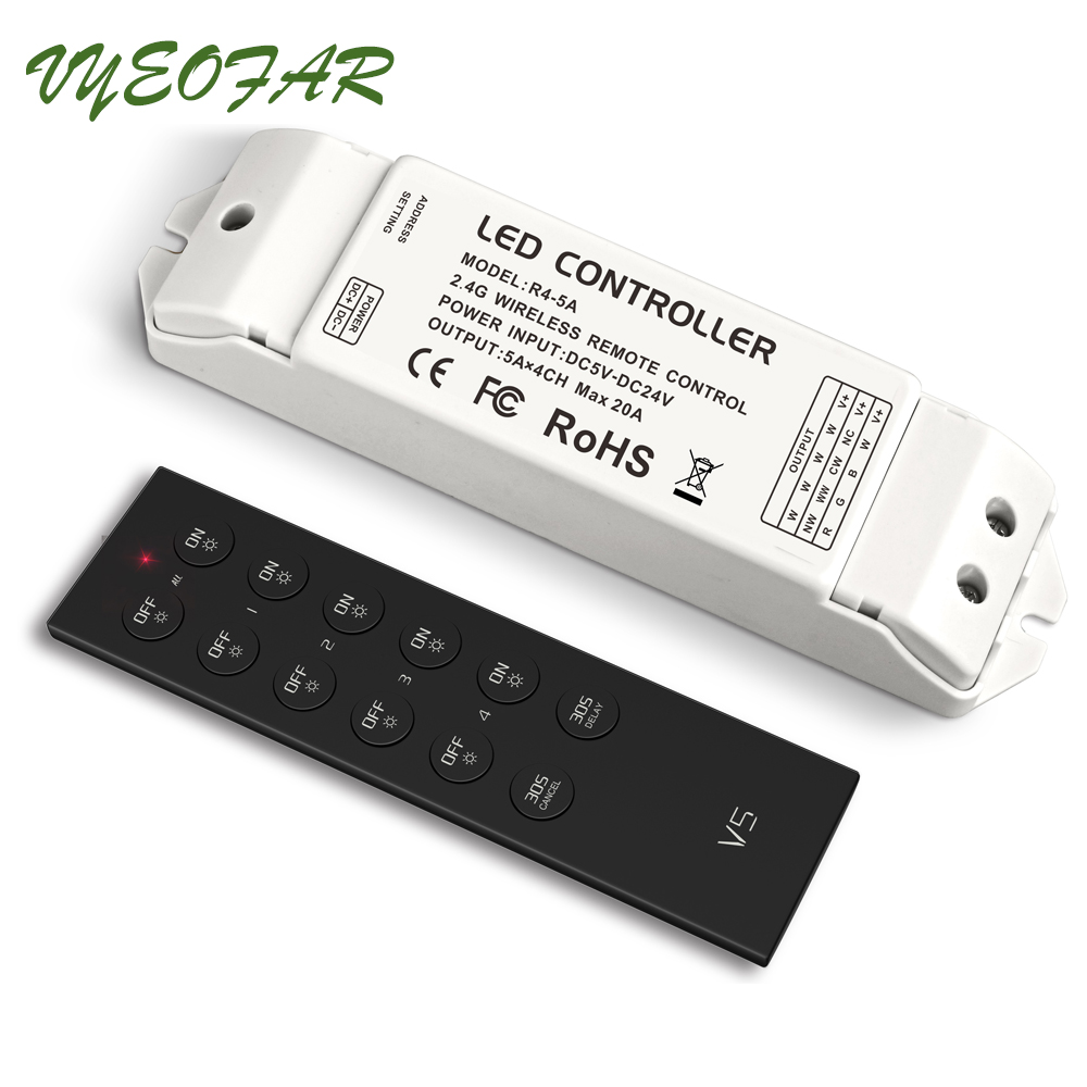 LTECH LED Strip Dimmer 12V V5 4 Zone Wireless RF Remote Dimming Controller R4-5A 20A Output Receiver 5050 3528 Strip Dimming 2 4ghz dmx512 ex2 led color temperature touch panel dimmer control for led strip lamp ltech ac100v 240v wireless receiver f4 5a