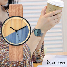 Women Simple Watch Fashion Casual Wood Vintage Leather Strap Quartz Creative Round Color Dial Wooden WirstWatch relogio feminino