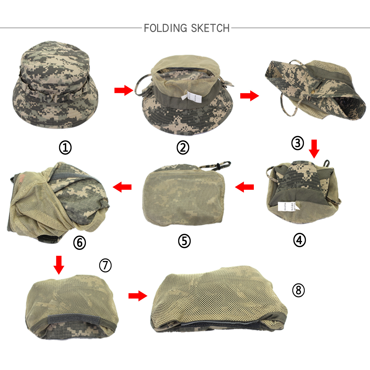 Outfly digitale camouflage Army hat outdoor camping mannen korte bri - Kledingaccessoires - Foto 6