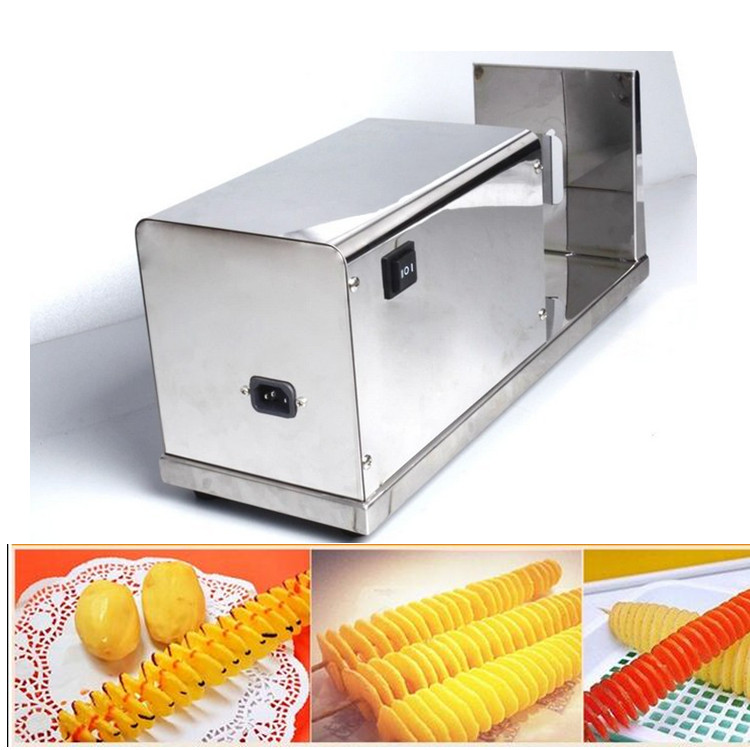 free ship new Stainless Steel commercial electric Spiral Potato cucumber Slicer Cutter Tornado twist potato cutting machine plus size plaid trim tunic tee