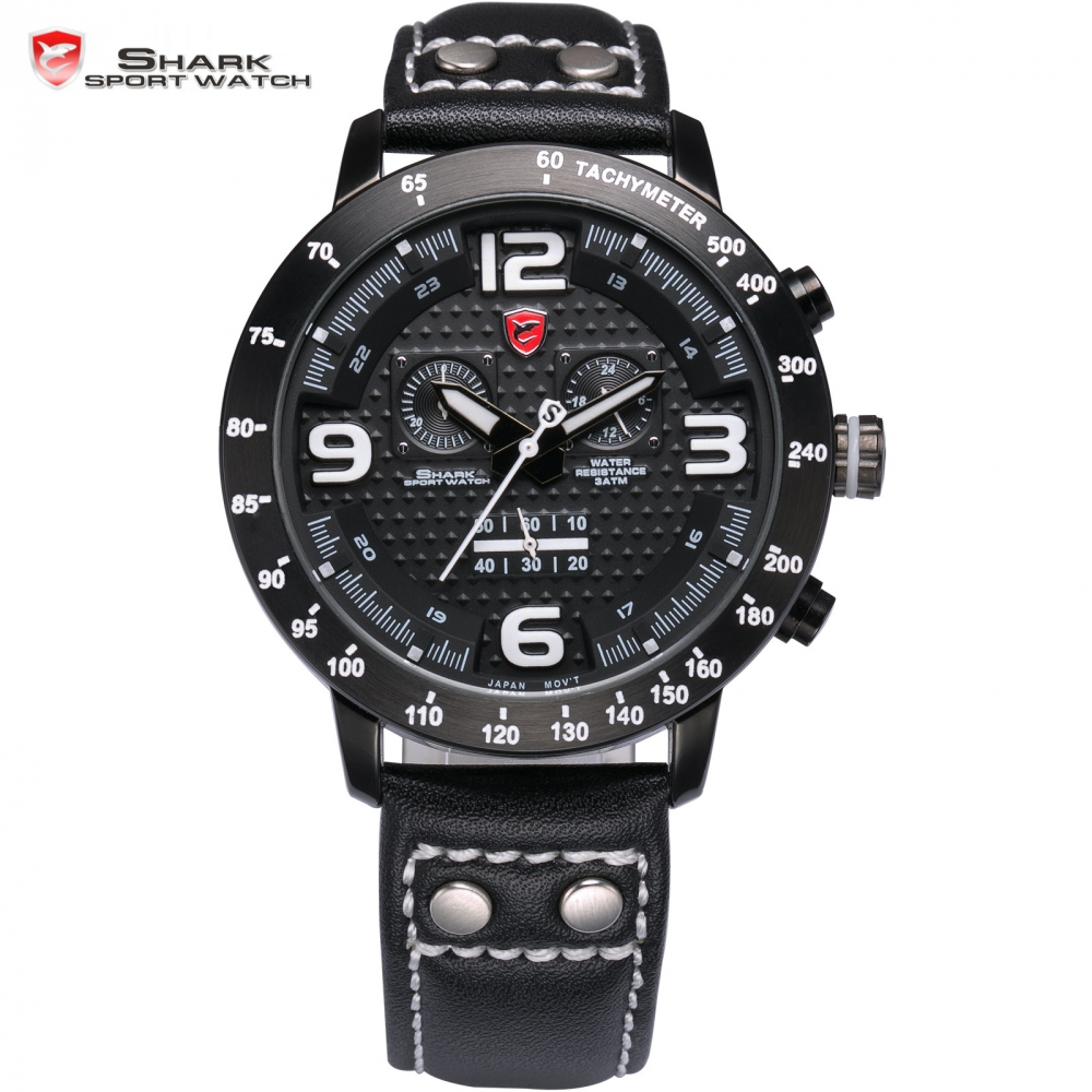Longfin SHARK Sport Watch Chronograph Genuine Leather Strap Mens Watches Top Brand Luxury Full Steel Racing