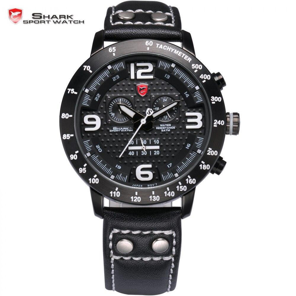 Longfin SHARK Sport Watch Chronograph Genuine Leather Strap Mens Watches Top Brand Luxury Full Steel Racing Quartz Clock /SH400 greenland shark sport watch brand