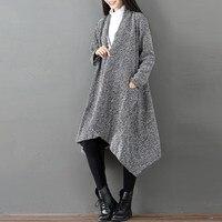 Autumn Winter Women Cardigan Loose Irregular Hem Elegant Warm Outwear Fashion Solid Long Coats Full Sleeve Pockets Casual Jacket
