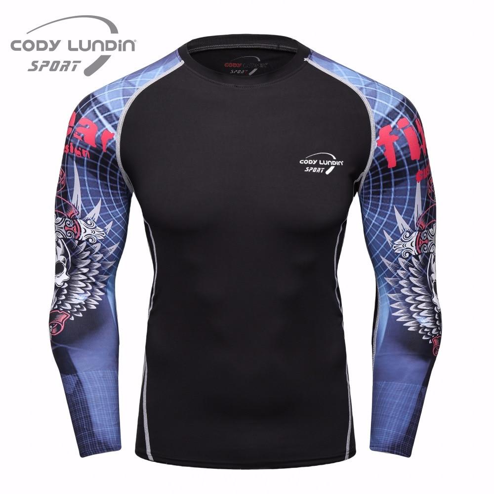 Férfi kompressziós felsők és póló divatos 3D-s nyomatok Fitness bőr harisnya hosszú ujjú gyors szár Cody Lundin póló férfi fitness póló