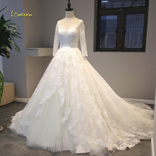 Loverxu Long Sleeve Wedding Dresses 2019 Court Train