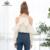 Bella philosophy 2017 nueva primavera verano cuello halter cami frío hombro ruffles de manga larga de las mujeres blusa de gasa camisa