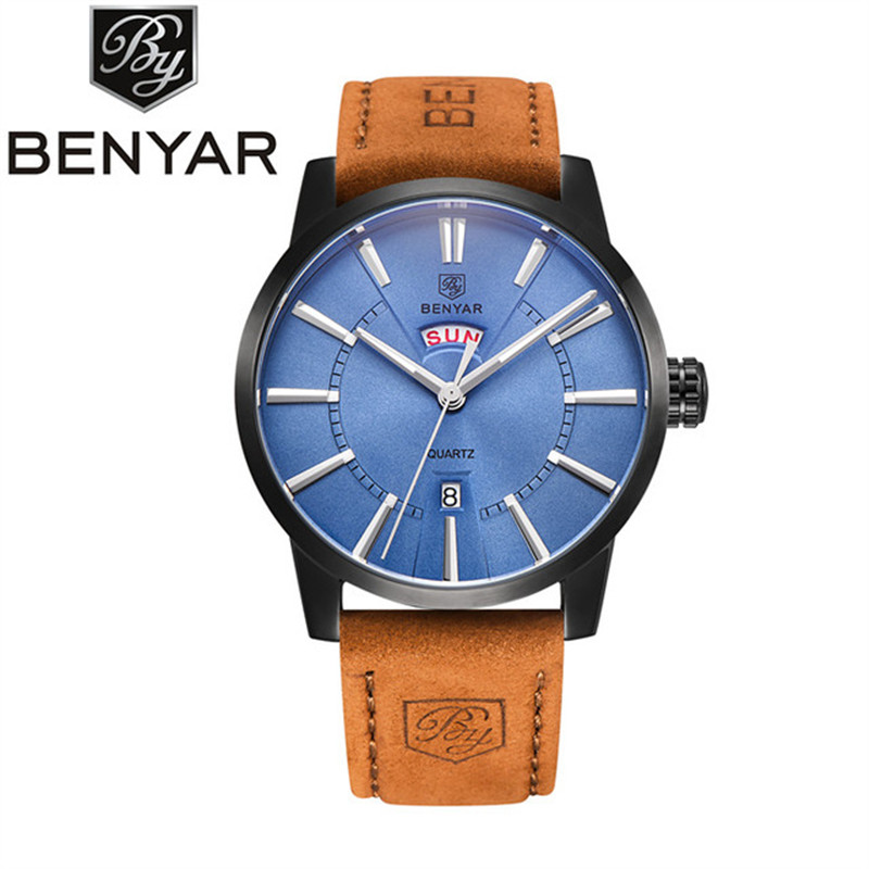 BENYAR Wrist Watch Men Watches Top Brand Luxury Popular Famous Male Clock Quartz Watch Business Quartz-watch Relogio Masculino xinge top brand luxury leather strap military watches male sport clock business 2017 quartz men fashion wrist watches xg1080
