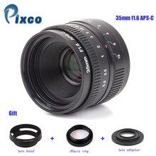 APS-C Nikon 1 / M4 / 3 / Pentax Q / Nex / Fuji / canonM 카메라 용 APS-C 35mm f / 1.6 렌즈 + 렌즈 후드 + 매크로 링 + 16mm C 마운트 어댑터