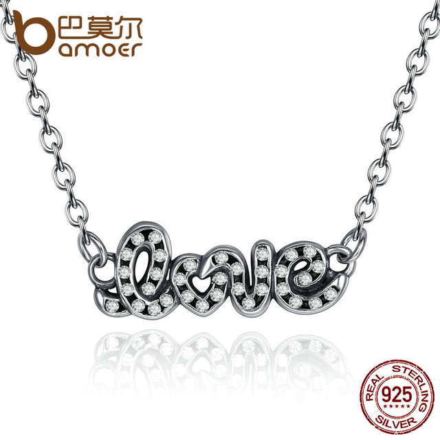 Sterling Silver Signature Of LOVE Pendant Necklace