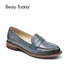 Beautoday Пенни бездельник Для женщин овчины мокасины слипоны острый носок Туфли без каблуков Повседневные платья Пояса из натуральной кожи Обувь с коробкой 27013