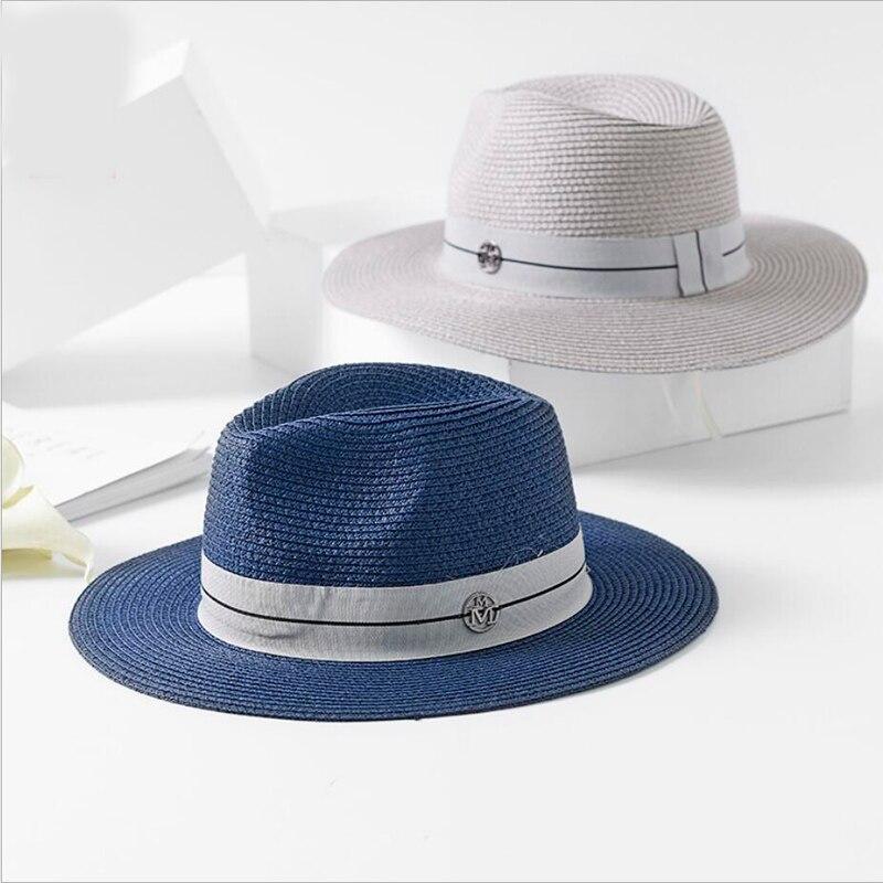 2018 New Summer Panama Hat For Women Black Ribbon Straw Hat Fashion Lady Church Caps Beach Sun Hat