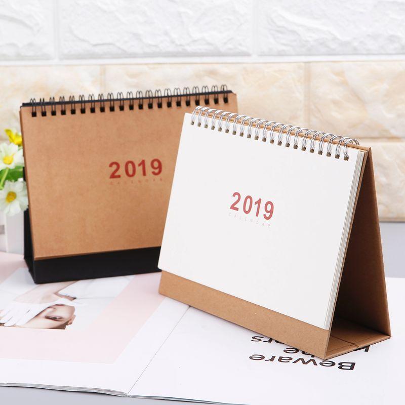 2019 Desktop Stehenden Spule Kraft Papier Kalender Memo Täglichen Zeitplan Tisch Planer Jährlich Agenda Organizer Belebende Durchblutung Und Schmerzen Stoppen Office & School Supplies