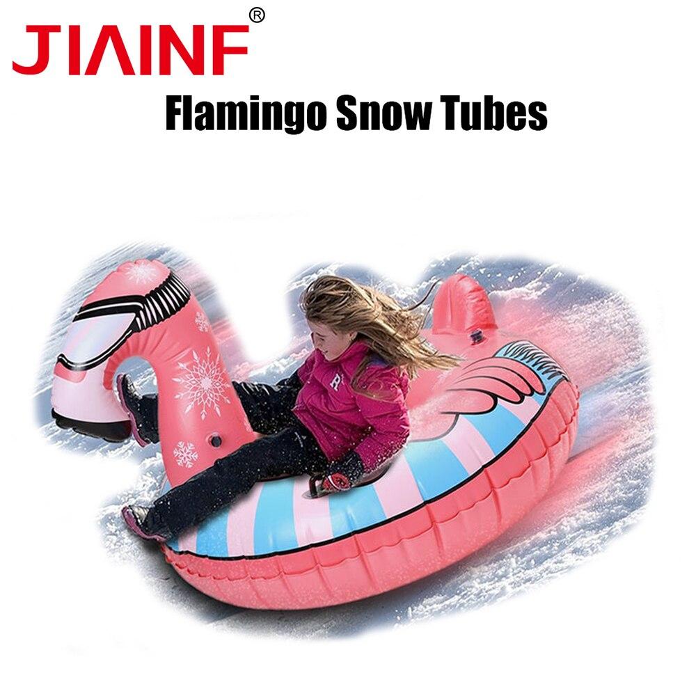 Licorne neige Tubes pour enfants adultes gonflable flamant anneau Ski luge anneau Ski cercle neige planche avec poignée hiver jouet
