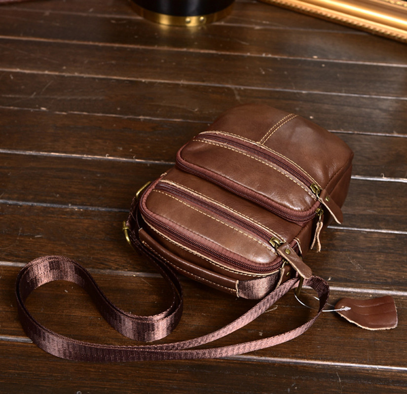 HUANILAI Men Genuine Leather Bags For Shoulder Messenger Phone Multifunction Cowhide Handbags DD02
