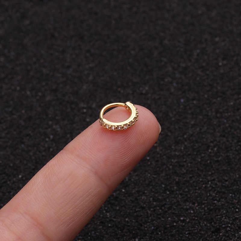 1PC 6-10mm Cz האף חישוק נחירי טבעת פרח Helix סחוס Tragus עגיל 20g x 8mm Cz סחוס Huggie חישוק עגיל תכשיטים