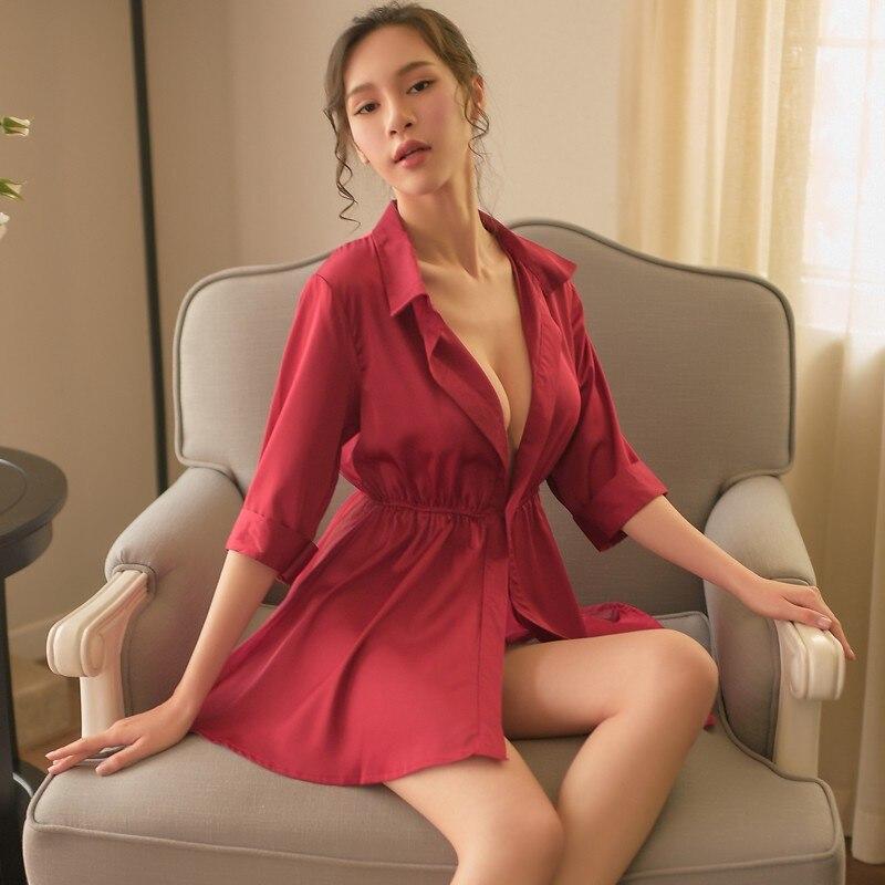 Yhotmeng new chiffon ice silk comfortable sexy pajamas women loose waist back perspective nightdress robe suit