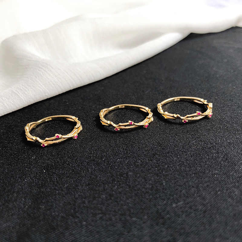 BALMORA 925 серебро розовый красный циркон филиал тонкие суставы кольца для женщин модные обручальные кольца ювелирные изделия Anillos YCR3197
