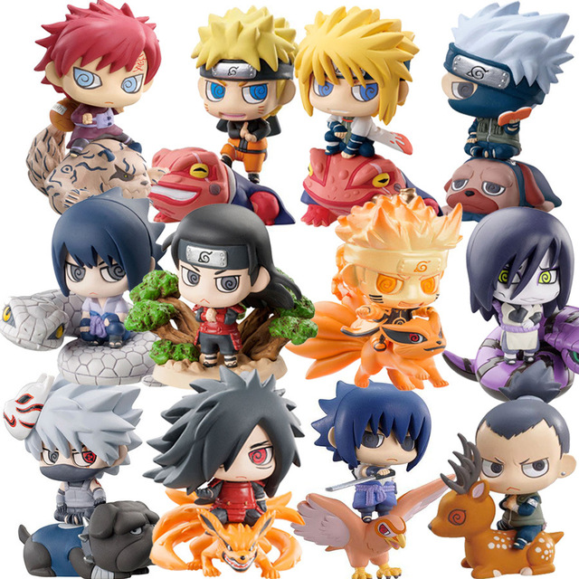 6pcs/set Pop Naruto Sasuke Uzumaki Kakashi Gaara Action With Mounts Figures Japan Anime Collections Gifts Toys WX171