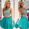 Charming Two Pieces Halter Homecoming Dress 2016 Sparkly Scoop Short Prom Dresses Plus Size Gilrs Junior Abendkleider