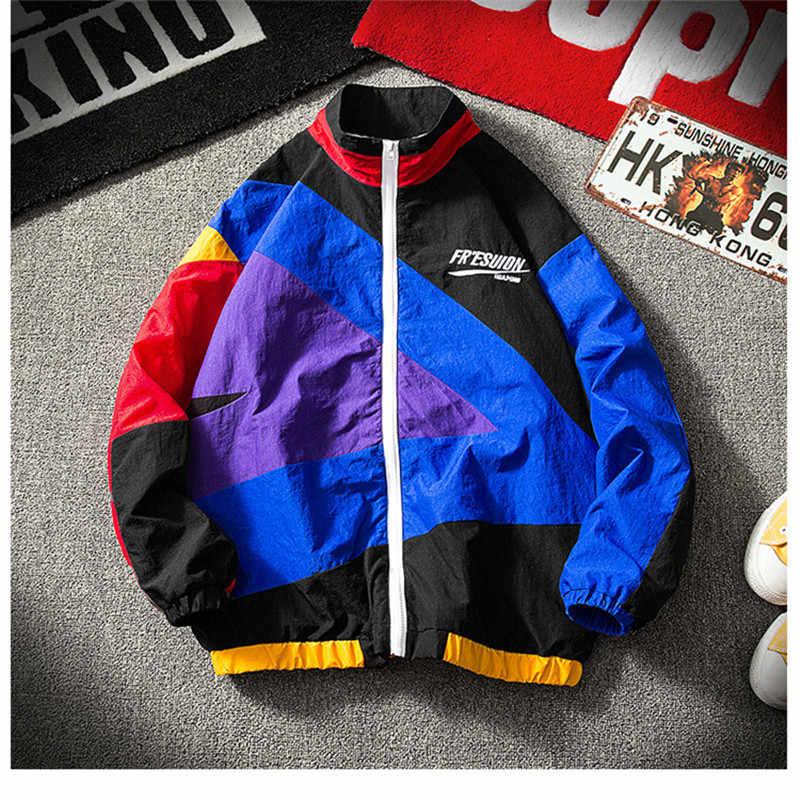 春 2019 ニューストリートヒップホップジャケット男性ファッション襟襟カジュアルルーズ原宿ウインドブレーカー特大メンズジャケットコート