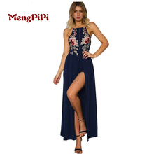 MengPiPi Sexy Club Cotton Dresses Floral Bodycon Dress Deep V Neck Black Embroidered Rose Backless Spaghetti Stripe Cami Dress