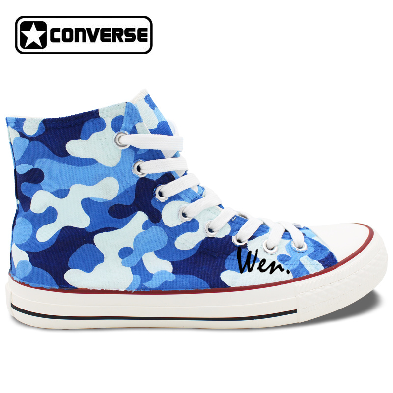 Prix pour Conception originale Marine Camouflage Bleu Motif Unisexe Peint À La Main Chaussures Converse All Star Toile Sneakers High Top