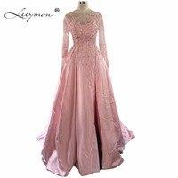Leeymon одежда с длинным рукавом Открыть Назад розового атласа платье для выпускного вечера развертки поезд Мода 2017 Новый Пром платье для парт