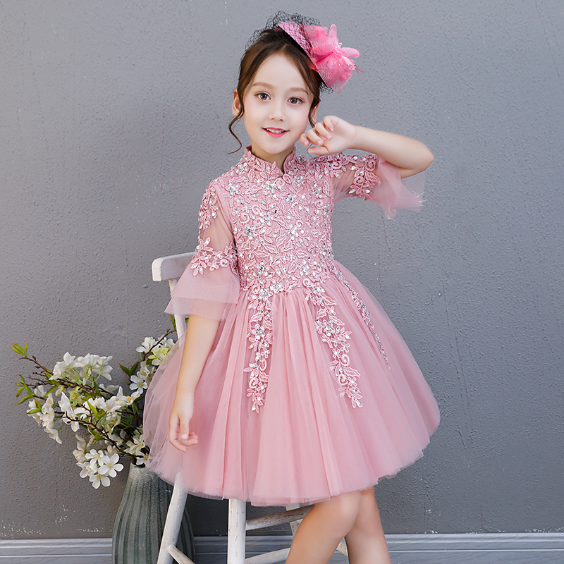 Children Girls Princess Party Dress 2018Summer New Baby Kids Fashion Birthday Wedding Party Pink Lace Ball Gown Short Mesh Dress 2018 spring new children girls elegant fashion pink color flowers princess dress for birthday wedding party baby ball gown dress