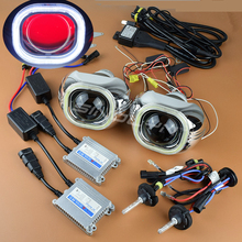 SINOLYN 3.0 inches H4 Q5 Bixenon HID Projector Square COB LED Angel Eyes Lens Headlight Kit With/Without Devil Eyes Car Styling
