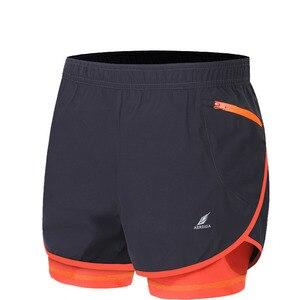 Image 1 - Мужские шорты для марафона и бега 2 в 1, шорты для спортзала, шорты для спортзала, короткие спортивные велосипедные шорты с длинной подкладкой, большие размеры