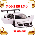 New Year Gift R8 LMS 1/24 Alloy Model Car Simulation Scale Vehicle Metal Toy Set Collection Classic Style Mini Car Metallic Item