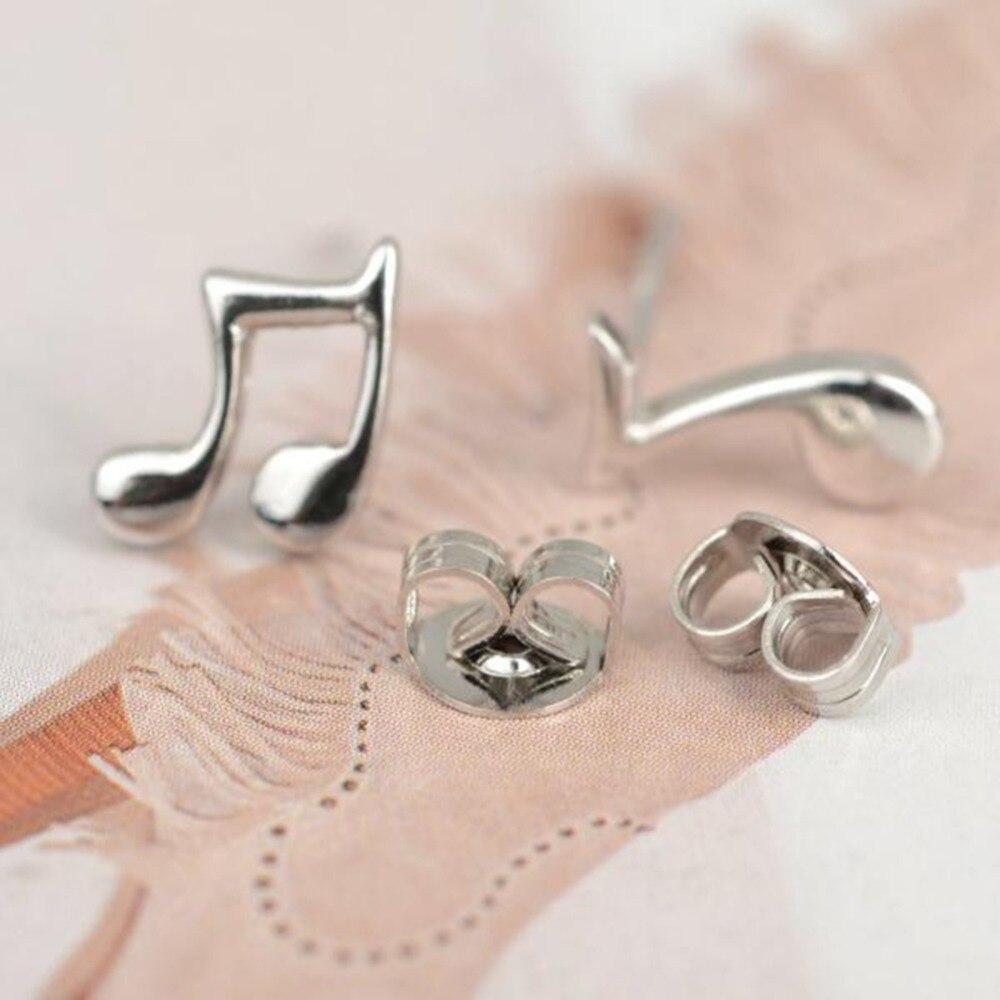 Hot Sale 1 Pair Silver Stainless Steel Stud Earring Music Note Piercing Ear Earrings Women Fashion Jewelry Пирсинг ушей