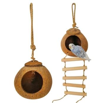 Bird Supplies Parrot Coconut Shell Bird Nest House Hut Cage Feeder Pet Parrot Bird Hamster Squirrel Breeding Nest Ladder Lanyard