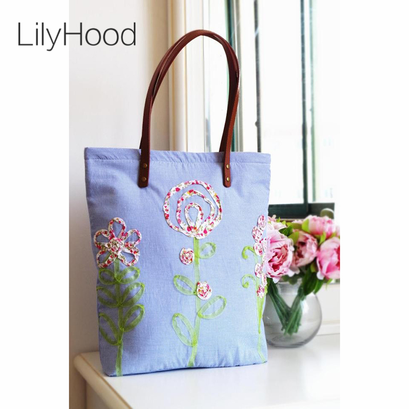 Women Ribbons Floral Embroidered Handbags Handmade Cotton Country Rustic  Wedding Leather Handle Pastel Light Bule Totes Bag Etsy