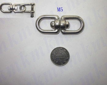 Free shipping wholesales rigging marine hardware stainless steel M5 double eye and eye regular G402 chain swivel